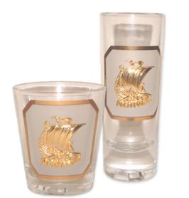1 x Drammebeger, Viking gull emblem, 1 x  Snapsglass, Viking gull emblem