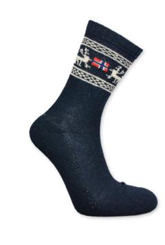 Angora sokker, Elg/ flagg, Blå