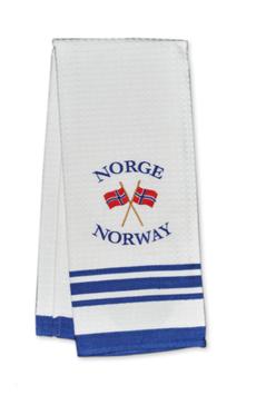 Kjøkkenhåndkle, hvitt, brodert flagg