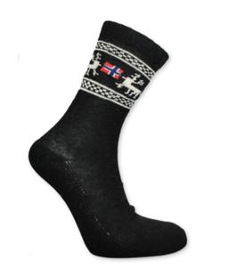 Angora sokker, Elg/ flagg, Sort