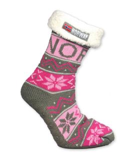 Strikket sokk med hvitt for, Rosa