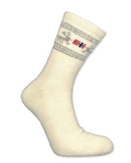 Angora sokker, Elg/ flagg, hvit