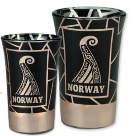 1 x Drammebeger viking, sort/ rosè, 1 x Snapsglass viking, sort/ rosè