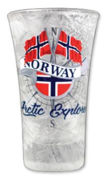 Frostet shotglass, To flagg