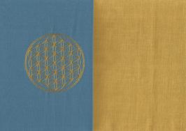 Blume des Lebens Blau + Ockergelb