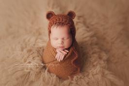 Fotoaccessoire Baby Fotografie braun baby mütze Neugeborenenfotografie Requisiten Baby Kleidung taufe hochzeit