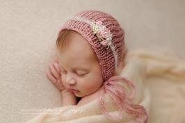 Baby fotografie Blumen Haarband Baby Haarband und Haube Neugeborenen Fotografie Mohair Taufe Hochzeit neugeborene haarband rosa creme blume