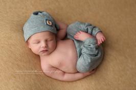 Junge Neugeborenen Foto Requisiten Fotografie Outfit Neugeborenen Hose und Mütze grau blau Neugeborenen Neugeborenen-Fotografie