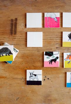 32 teilig Tier Memorie aus Holz  in einem Stoffbeutel verpackt 20191515
