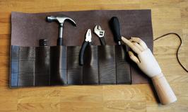 Werkzeugrolle aus echtem Rindsleder