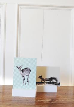 Postkartenhalterung 2er Set in Stoffbeutel