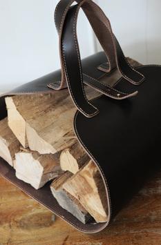 Ledertragetasche für Holz oder Bücher mit Stoffbeutel