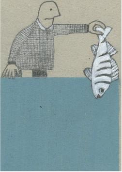 Postkarte Illu Mann mit Fisch 20192929