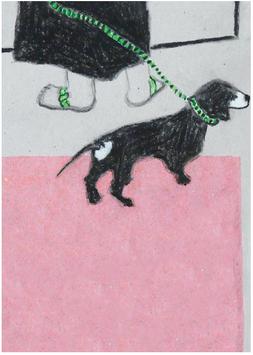 Postkarte Illu Frau mit Hund 20192323