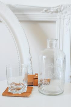 Glasuntersetzer 4er Set aus echtem Rindleder in Stoffbeutel verpackt