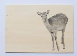 Holzpostkarte Rehkitz 161