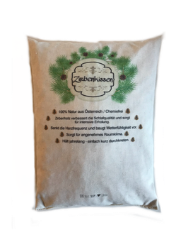 """Stone pine pillow 17x24 cm or 40x26 cm  - filled with 100% pure natural untreated Swiss stone pine wood chips called """"Zirbe, Zirbelkiefer or Arve"""""""