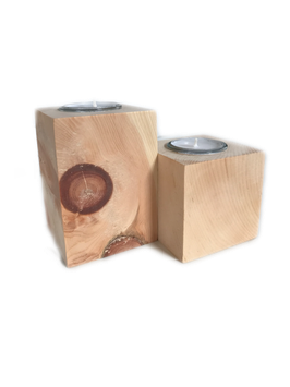 """Tea light candle holder -  100% pure natural untreated Swiss stone pine wood called """"Zirbe, Zirbelkiefer or Arve"""""""