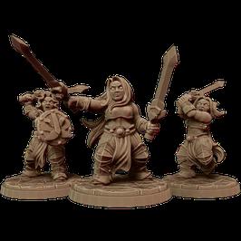 3 Zwergenkriegerinnen mit Kurzschwertern