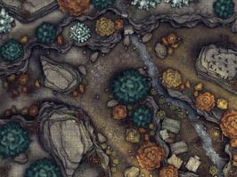Battlemap: Flusslager tagsüber mit Grid
