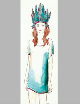FEATHER GIRL (29,7x84cm)  LANGES POSTER