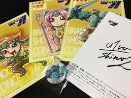 篠﨑雄一郎オリジナルコンセプトイラストポストカード4枚&ピクセルアート缶バッチ1つ【サイン入り】