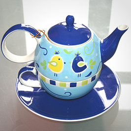 "Tea-for-one cup ""Blue Bird"""