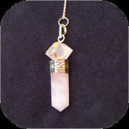 Pendule de radiesthésie en quartz rose