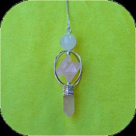 Pendule de radiesthésie Merkaba en quartz rose
