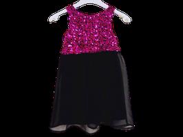 Robe noire et sequins roses 4 ans