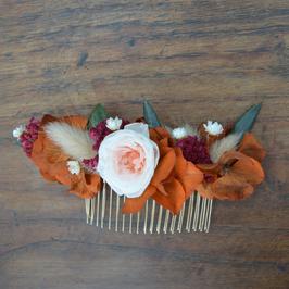 Peigne en fleurs séchées et stabilisées
