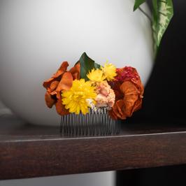 Peigne personnalisé en fleurs séchées et stabilisées
