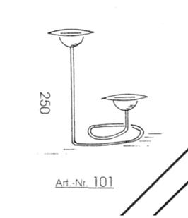 Kerzenständer aus Klarglas für zwei Kugel Kerzen Höhe ca 250 mm satiniert