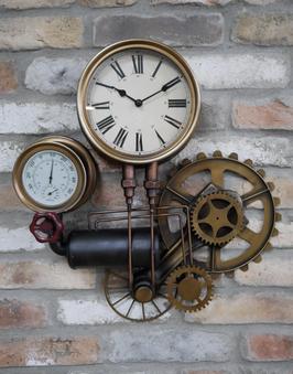 Steampunk Wanduhr Victorian Style Unikat Uhr mit Thermometer und Hygrometer Zahnrad Industrial Style Wohnzimmeruhr