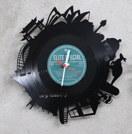 Sydney Wanduhr Geschenk Uhr aus einer Schallplatte mit den Wahrzeichen der Vinyluhr LpUhr