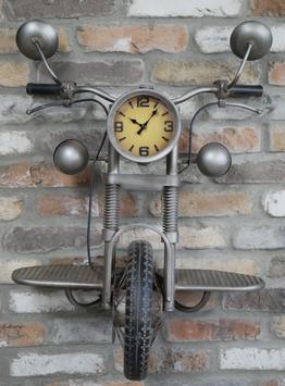 Töff Wanduhr Motorrad als Uhr Töffuhr Motorraduhr Vintage Design Unikat Liebhaber XXL Industrial Retro Küchenuhr