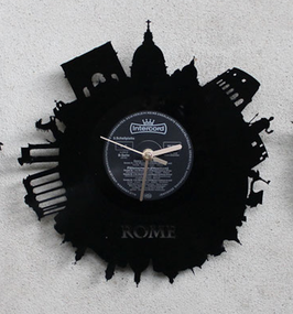 """Vinyl Wanduhr Rom Schallplattenuhr LP Uhr 12"""" Motivuhr gelagert aus einer Platte"""
