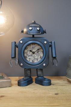 Roboteruhr Metalluhr als Roboter Retro Regaluhr Vintage