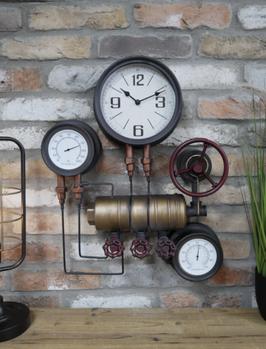 Industrie Pipeuhr Wanduhr Vintage Industrial Style Antik Thermometer und Hygrometer Vintageuhr