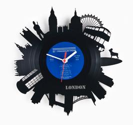 Vinyluhr London Sehenswürdigkeiten Geschenk Schallplattenuhr Retro Upcycling Schallplatte Uhr Wanduhr