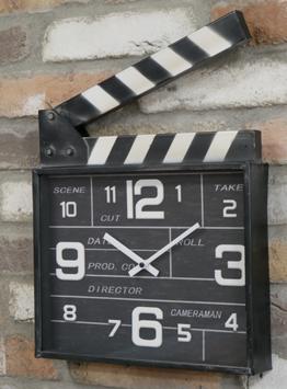 Filmklappe Uhr Vintage Wanduhr Regieuhr Industrie Filmklappenuhr Clapperboard Regisseur Metalluhr Film-Klappe Hollywood