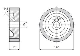 Gummierte Vorschubrolle 140 x 15 x 35 mm, Braun, 70 ShA