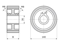 Gummierte Vorschubrolle 140 x 50 x 35 mm, Weiß, 60 ShA