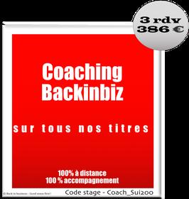 999 - Coaching Backinbiz sur tous nos titres - 100% distance - 3 rendez-vous en ligne
