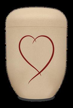 B1 - Bio-Urne sandfarben, Herz