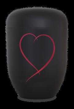 B1-5-Herz-rot, Bio-Urne samtschwarz, Herz rot