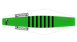 Factory Sitzbankbezug Kawasaki Green Top - White Sides - Black Ribs
