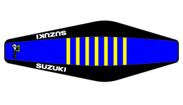 Factory Sitzbankbezug Suzuki Blue Top - Black Sides - Yellow Ribs