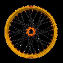 Radsatz KTM ► Excel Felge Gold | Nabe Orange | Speichen Schwarz | Nippel Orange