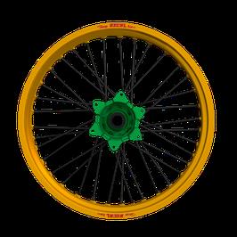 Radsatz Kawasaki ► Excel Felge Gold | Kite Nabe Grün | Speichen Schwarz | Nippel Grün